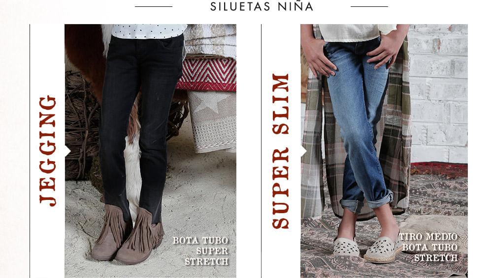 Siluetas de jeans para niña