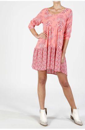 Vestido-corto-estampado-fondo-flores-y-puntos