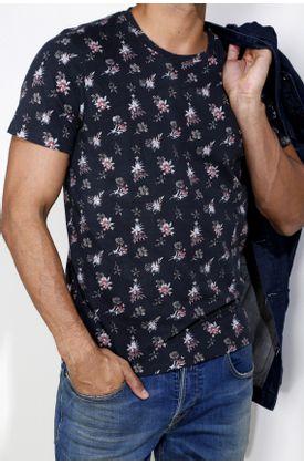 Tshirt-estampado-flores-fondo-negro