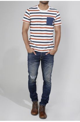 Tshirt-estampado-rayas-azules-con-ocre