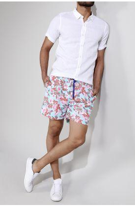 Pantaloneta-de-baño-estampado-flores-fondo-menta