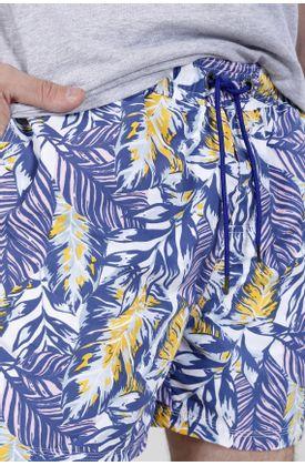 Pantaloneta-de-baño-estampado-hojas-azules