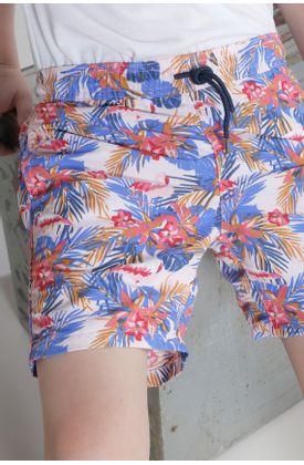 Pantaloneta-hojas-azules-y-flamingos