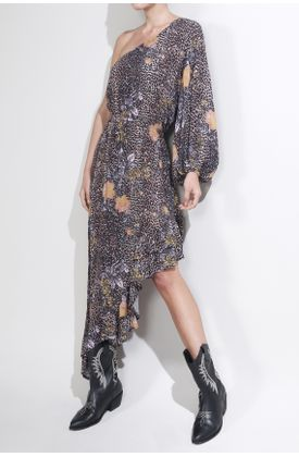 Vestido-largo-y-estampado-de-animal-y-flores