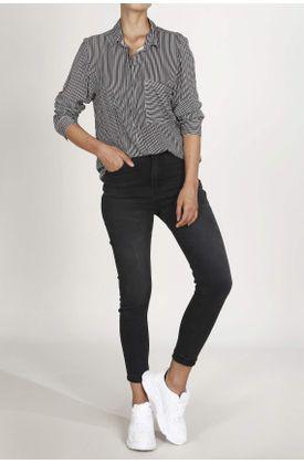 Camisa-Tennis-estampada-y-manga-larga.-Color--AZUL.-Hecho-en-material--100--VISCOSA