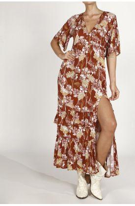 Vestido-TopMark-largo-y-con-estampado-de-flores.-Color--NARANJA.-Hecho-en-material--100--VISCOSA