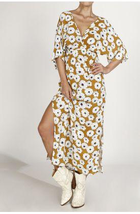 Vestido-TopMark-largo-y-con-estampado.-Color--AMARILLO.-Hecho-en-material--100--VISCOSA