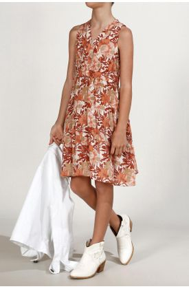 Vestido-niña-Tennis-corto-y-estampado-de-flores