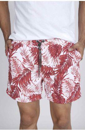 Pantaloneta-de-baño-plano-y-estampado-hojas-verdes-y-rosadas