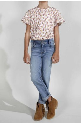 Jean-para-niña-Tennis-silueta-moda-plano-y-cintura-con-pretina