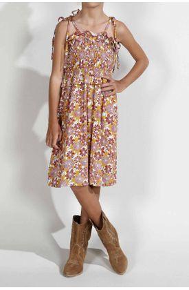 Vestido-para-niña-Tennis-corto-y-estampado-de-flores