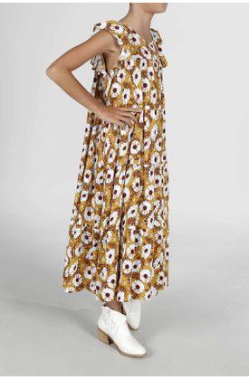 Vestido-para-niña-Tennis-largo-y-estampado-de-margaritas