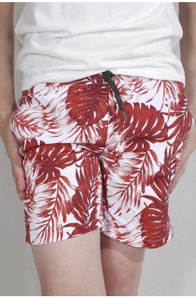 Pantaloneta-de-baño-plano-y-estampado-hojas-rosada-y-verde