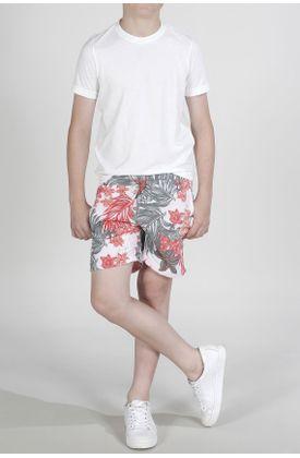Pantaloneta-de-baño-plano-y-estampado-hojas-verdes-y-flores-rosado