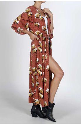 Kimono-para-mujer-Tennis-estampado-de-flores-y-puntos