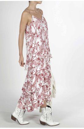 Vestido-para-mujer-Tennis-largo-y-estampado-de-flores-rojas
