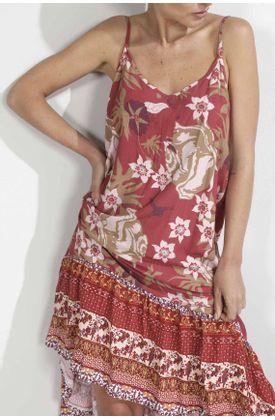Vestido-para-mujer-Tennis-largo-y-estampado-flores-con-cenefa