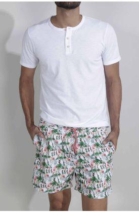 Pantaloneta-de-baño-para-hombre-Tennis-plana-y-estampado-de-hawaianas