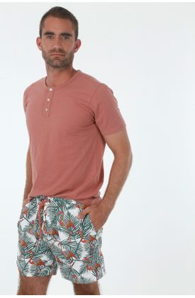 Ropa-de-baño-para-hombre-tennis-pantaloneta-plano-estampado-flamigos-y-ramas