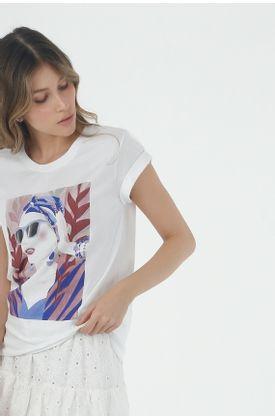 Tshirt-para-mujer-Tennis-con-estampado-de-rostro-turbante