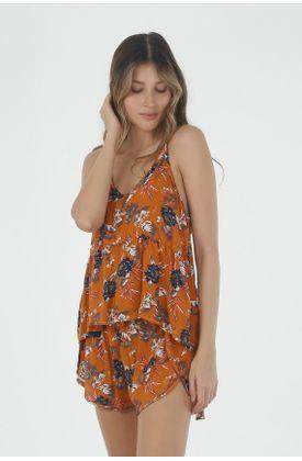 Conjunto-pijama-para-mujer-Tennis-con-estampado-de-flores