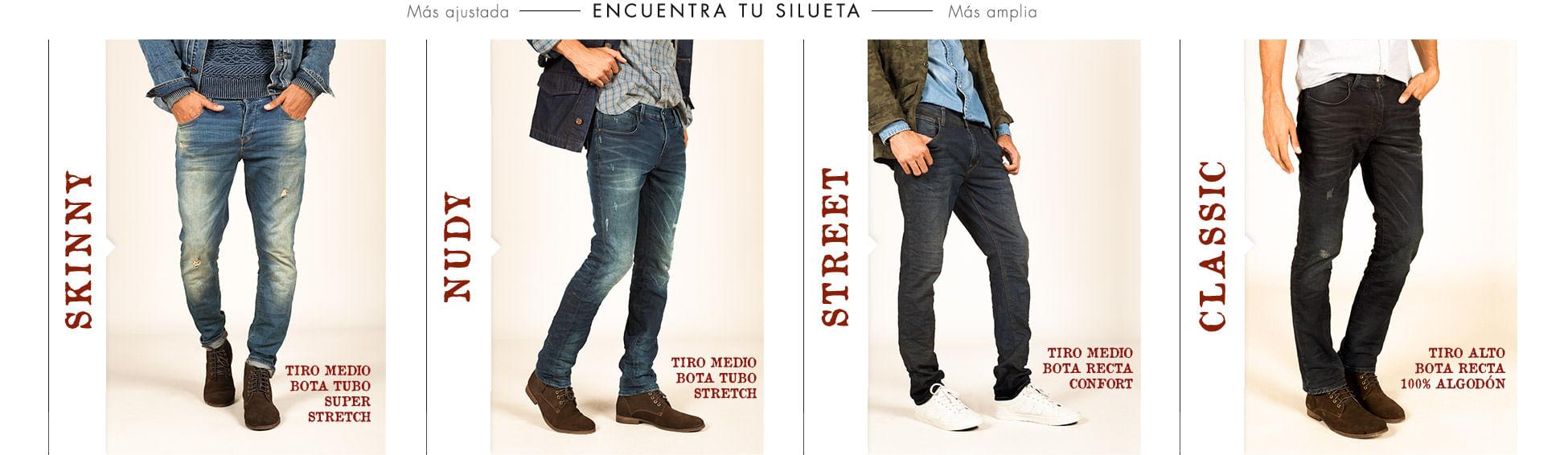 Siluetas de jeans para hombre